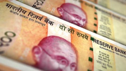 Indian rupee money banknote surface loop animation