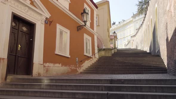 Thumbnail for Staircase in an Empty Street in Prague, Czech Republic During the Coronavirus Pandemic