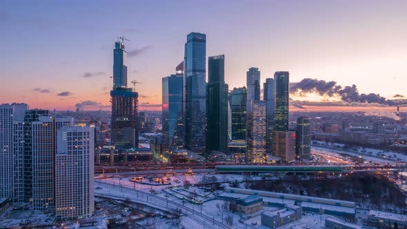 Moscow City Business Center and Urban Skyline in Winter Morning. Aerial View