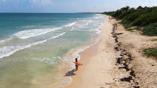 Honeymoon Couple in Tulum Beach Rivera Maya Aerial