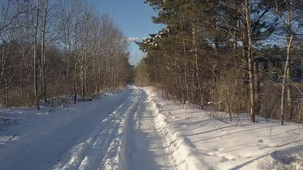 Thumbnail for Aerial Motion Above Empty Rural Road in Winter Forest