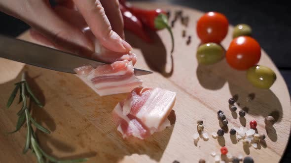 Cutting the Slices of Ham on Board