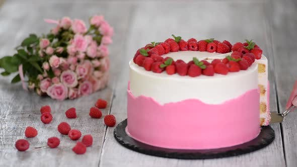 Thumbnail for Delicious summer cake with raspberry