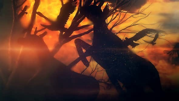 Cover Image for Animals Escaping From Forest Wildfire Slow Motion