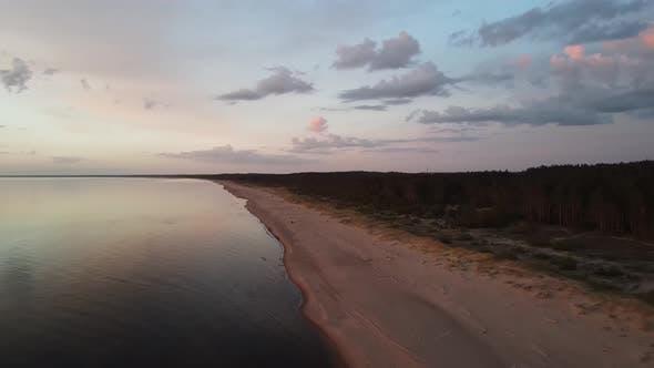 Sea shore on the sunset