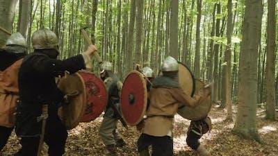 Viking warriors in battle