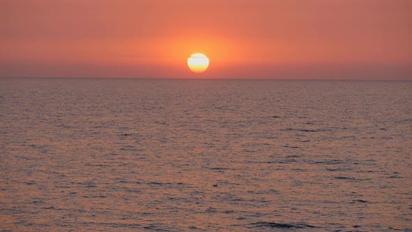 Red Sunset in the Sea