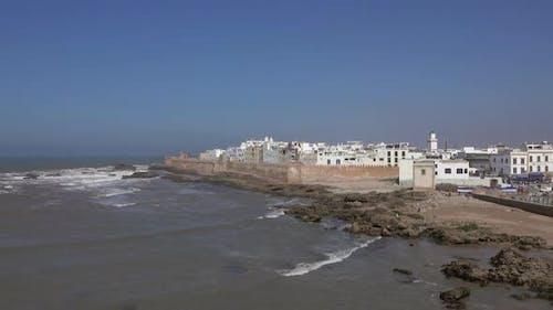 Möwen über Essaouira Altstadt in Marokko