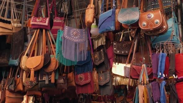 Thumbnail for Marrakech - Market Stalls in Medina Old City. Bags and Leatherin Marocco Marketplace, Craftsman