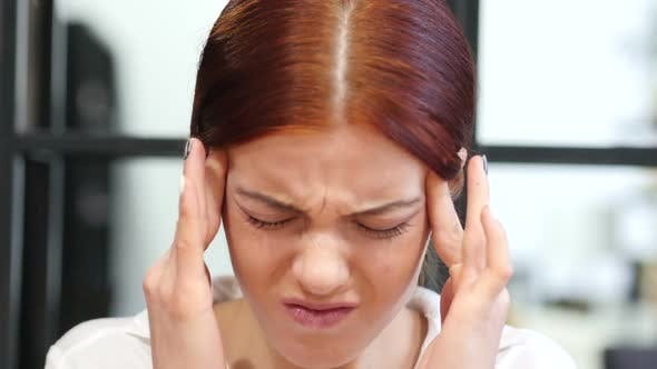 Thumbnail for Close Up of Tense Woman with Headache, Frustration