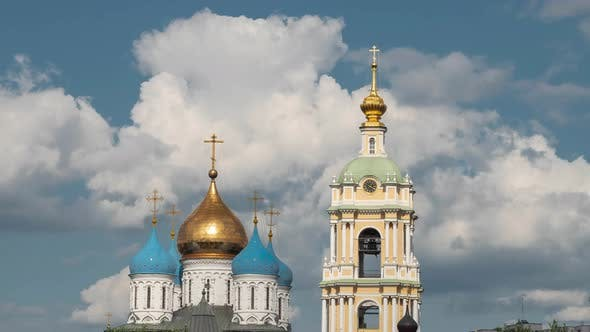 Domes of the russian church against dramatic cloudy sky