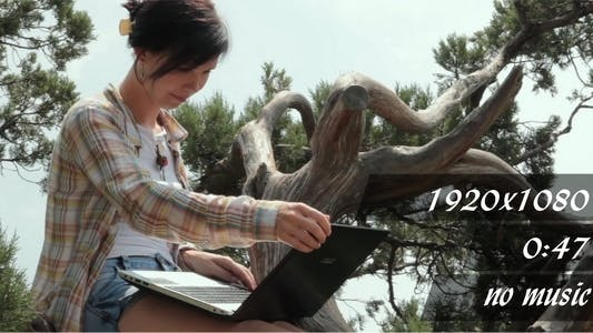 Thumbnail for The Girl With Laptop On The Nature 2