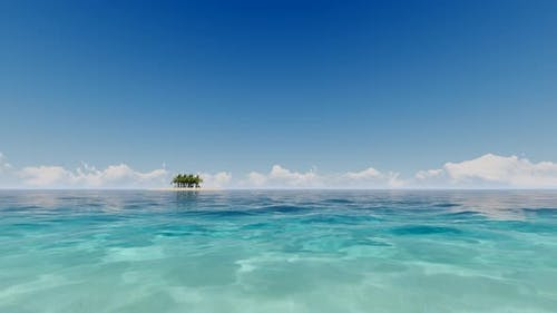 Tropical Ocean in 3d Style on Deep Blue Background. Sea View.