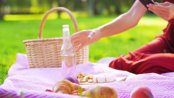 Thumbnail for Happy Woman with Smartphone on Picnic at Park