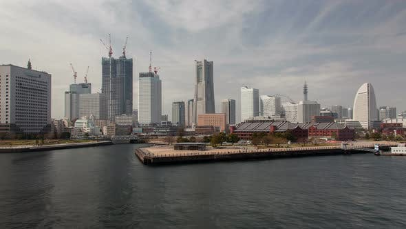 Thumbnail for Yokohama City Bay Skyscrapers From Water Timelapse