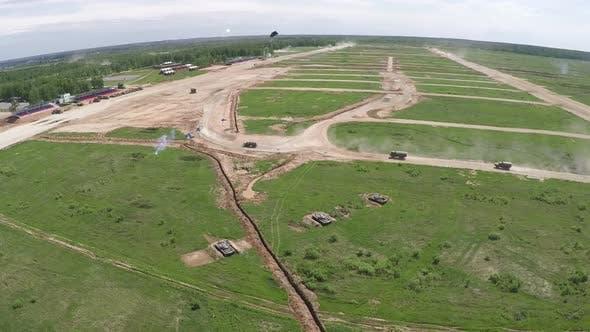 Aerial shot of training land forces on range