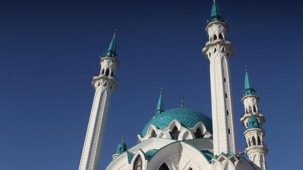 Kul Sharif mosque in the Kazan Kremlin in the rays of the setting sun. Russia.