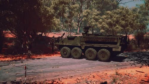 Armored Battle Army Tank on the Road