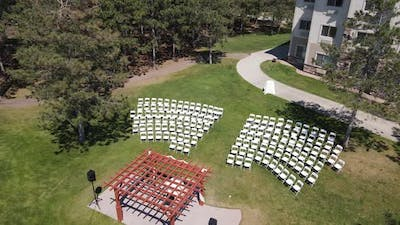 Drone footage of an outdoor event area in Alexandria, Minnesota, the USA