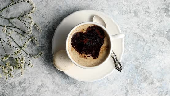 Cover Image for Cup of Coffee with Heart Made of Foam