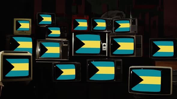 Cover Image for Flag of the Bahamas and Retro TVs.