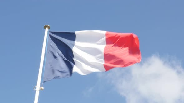 Thumbnail for French flag  on the wind waving 4K 3840X2160 UltraHD footage - Flag of France  flowing against blue