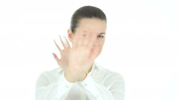 Thumbnail for Rejecting, Opposing Woman, White Background