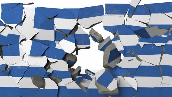 Thumbnail for Crushing Concrete Wall with Flag of Greece