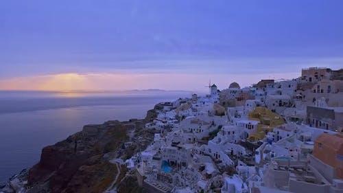 Oia Village in Santorini, Greece, at Sunset - Panning