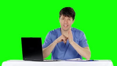 Conversation with Knowledgeable Doctor. Green Screen