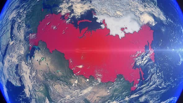 Thumbnail for Realistic Earth Zoom Red Alert Highlight Country Russia