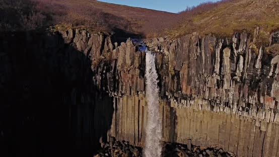 Thumbnail for Aerial Shot of Svartifoss in Iceland