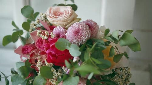 Beautiful Bouquet of Peonies and Roses Is on Windowsill