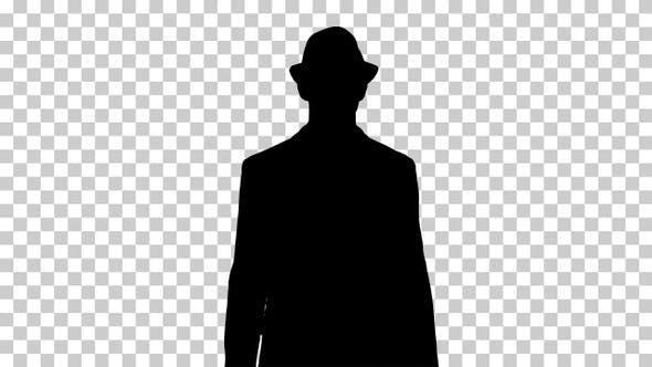Silhouette Man walking in a hat, Alpha Channel