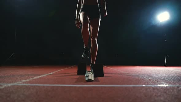 Thumbnail for Close-up Legs of the Athlete Approach the Treadmill and Become in Position To Start the Race