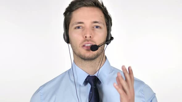 Thumbnail for Online Video Chat by Call Center Agent on White Background