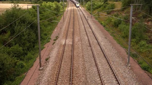 Thumbnail for French Railway Blue Train Moving Along Rail Road. Passenger Bullet Train Passes on Railway View From