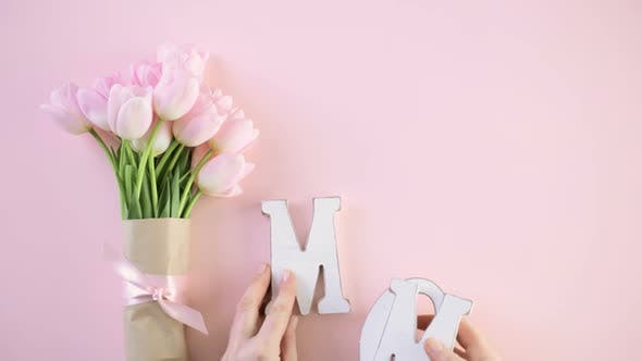 Thumbnail for Bouquet of pink tulips on a pink background