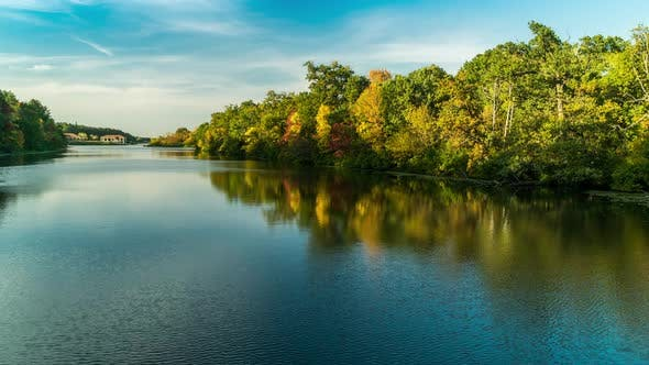 Thumbnail for Autumn Landscape with River, Panoramic Time-lapse