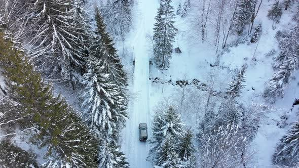 Thumbnail for Aerial View on Lonely Car Riding on Snowy Road in Magic Winter Forest