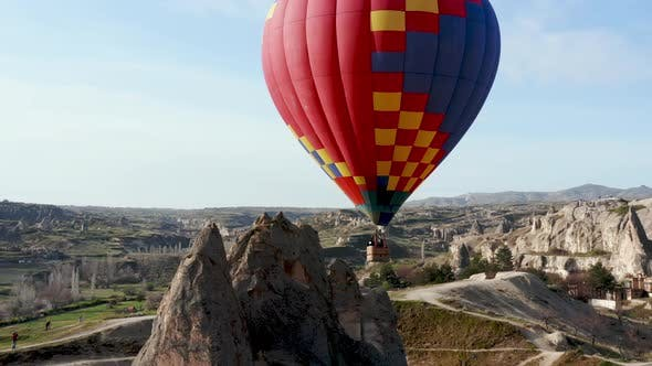 Cover Image for Colourful Red Blue Yellow Colours Hot Air Baloons Aerial Drone Flight. The Great Tourist Attraction