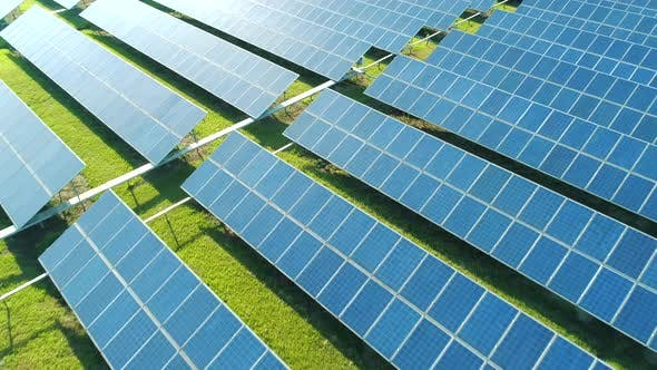 Thumbnail for Aerial View of Solar Panels Farm (Solar Cell) with Sunlight. Drone Flight Over Solar Panels Field