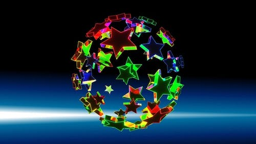 Star Ball Is Multicolored HD ProRes