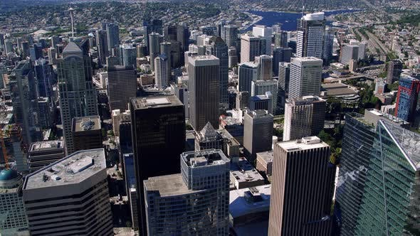 Thumbnail for Skyscraper Building Tops In Seattle Helicopter Aerial