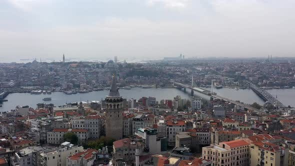 Cover Image for Golden Horn Galata Bridge And Galata Tower Aerial Hyperlapse