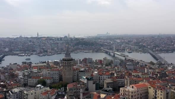 Golden Horn Galata Bridge And Galata Tower Aerial Hyperlapse