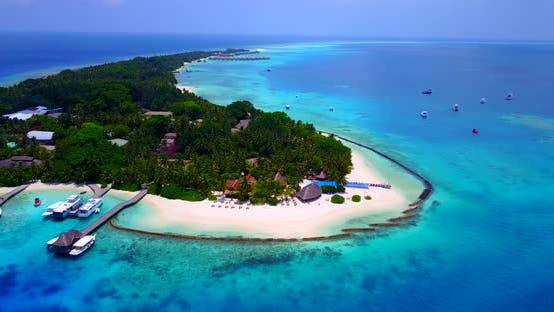 Thumbnail for Wide angle above island view of a sunshine white sandy paradise beach and aqua turquoise water backg