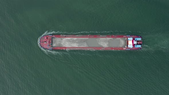 Bird's Eye View of a Cargo Barge At Sea