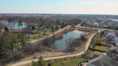 Flight Over the Fabulous Park in the State of Illinois USA. Park Areas in the United States.Autumn