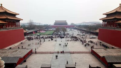 Chinese Tourists on Beijing Forbidden City Square Timelapse